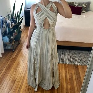 Maxi Gray/White Stripe Dress